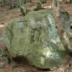 Effige scolpita nella roccia verso il Corgella